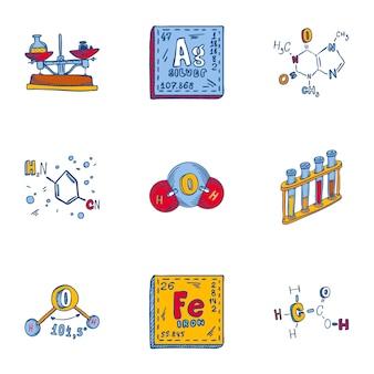 Jeu d'icônes de formule chimique. ensemble dessiné à la main de 9 icônes de formule de chimie