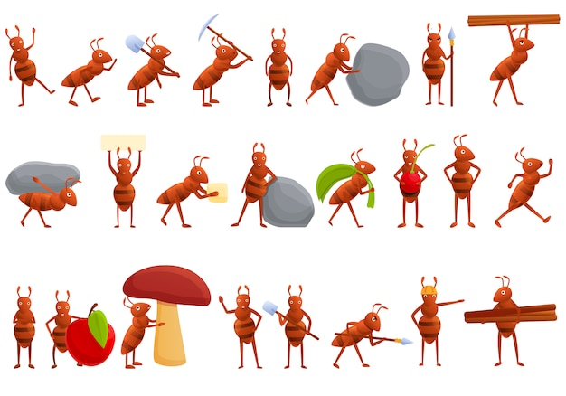 Jeu d'icônes de fourmi, style cartoon