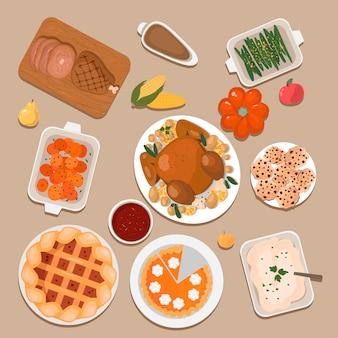 Jeu d'icônes de friandises traditionnelles de thanksgiving