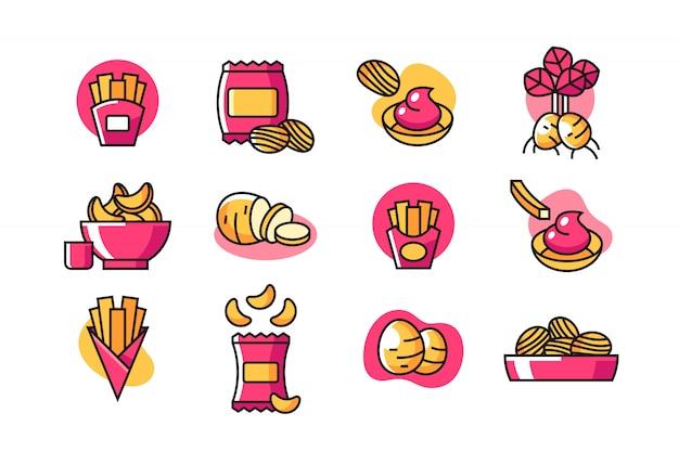 Jeu d'icônes de frites