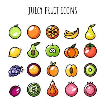 Jeu d'icônes de fruits. icônes juteuses. couleur et contour