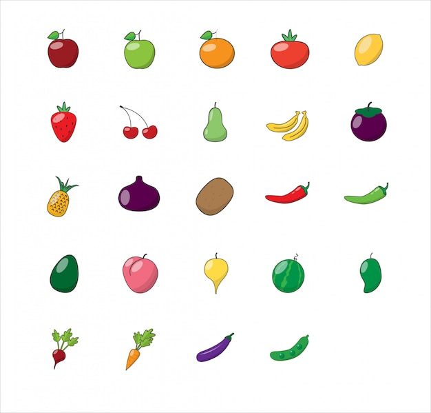 Jeu d'icônes de fruits et légumes.