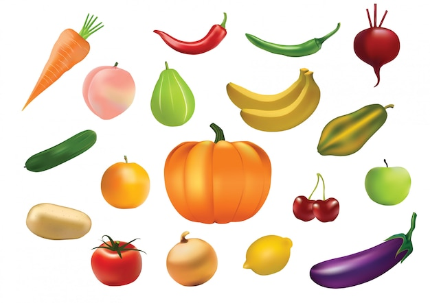 Jeu d'icônes de fruits et légumes