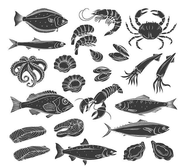 Jeu d'icônes de fruits de mer belle illustration