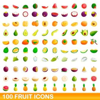 Jeu d'icônes de fruits, style cartoon