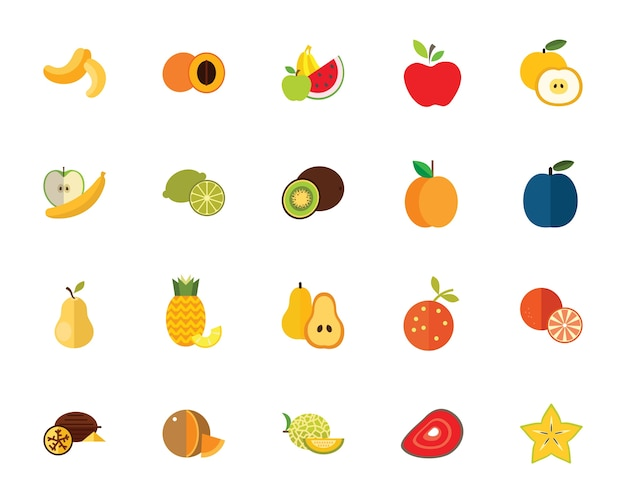 Jeu d'icônes de fruits