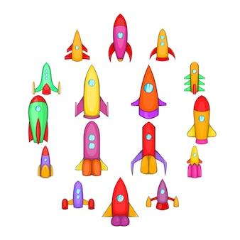 Jeu d'icônes de fusées, style cartoon
