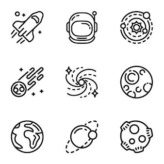 Jeu d'icônes de la galaxie de l'espace. ensemble de contour de 9 icônes de la galaxie de l'espace