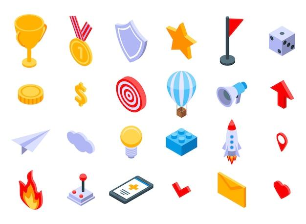 Jeu d'icônes de gamification, style isométrique