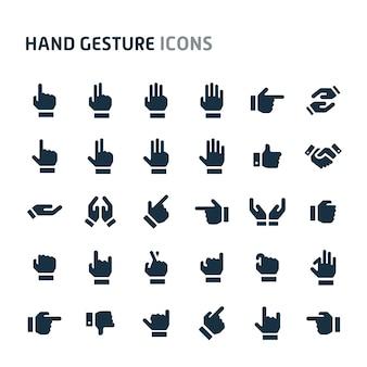 Jeu d'icônes de geste de la main. série d'icônes fillio black.