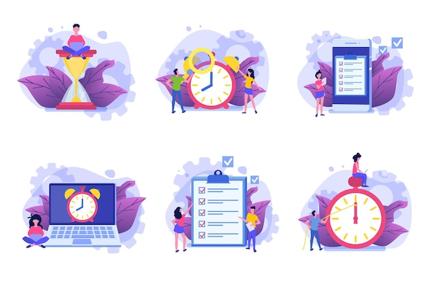 Jeu d'icônes de gestion du temps, application de planification d'entreprise.