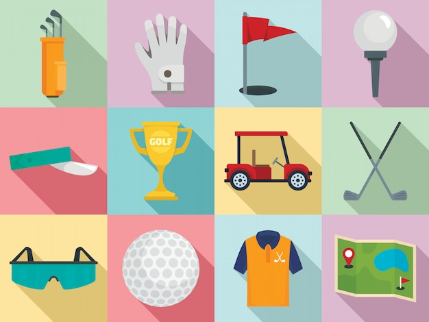 Jeu d'icônes de golf, style plat