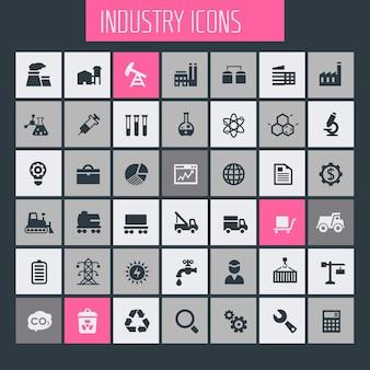 Jeu d'icônes de grande industrie, collection d'icônes à la mode