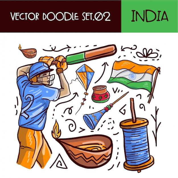 Jeu d'icônes de griffonnage jour de la république indienne