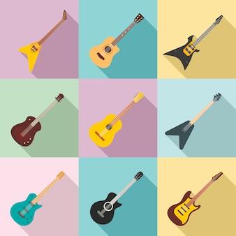 Jeu d'icônes de guitare, style plat
