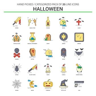 Jeu d'icônes halloween ligne plate