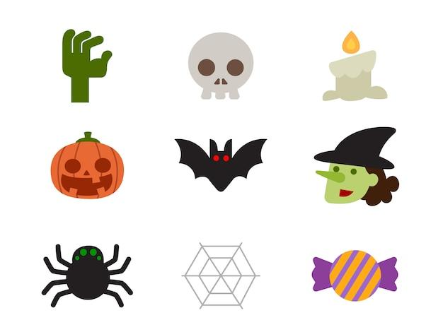 Jeu d'icônes d'halloween de personnages dans un style plat