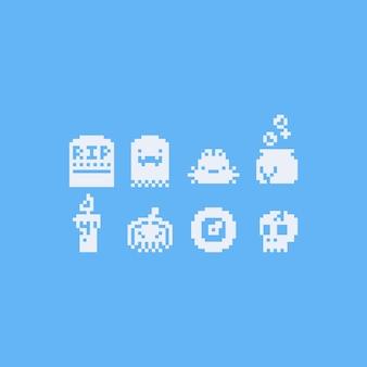 Jeu d'icônes halloween pixel art 8bit