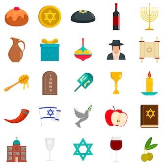 Jeu d'icônes de hanukkah heureux