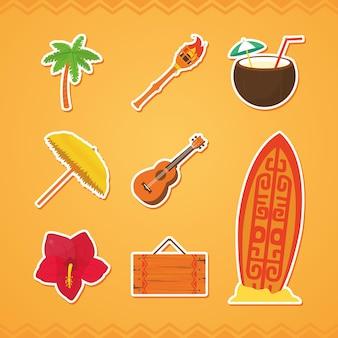 Jeu d'icônes hawaïennes et plage