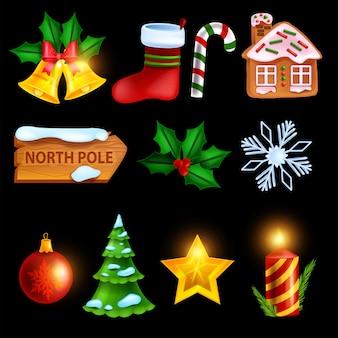 Jeu d'icônes d'hiver de noël vacances vecteur symbole de noël étoile d'or rouge cadeau chaussette maison de pain d'épice