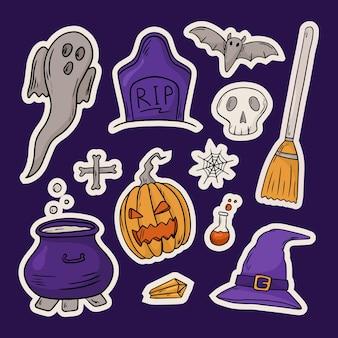Jeu d'icônes d'illustration vectorielle. autocollants doodle avec thème halloween. décoration de fond