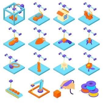 Jeu d'icônes d'impression 3d. illustration isométrique de 16 icônes d'impression 3d définie des icônes vectorielles pour le web