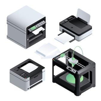 Jeu d'icônes d'imprimante. ensemble isométrique d'imprimante