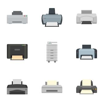 Jeu d'icônes d'imprimante à jet d'encre. ensemble plat de 9 icônes d'imprimante à jet d'encre