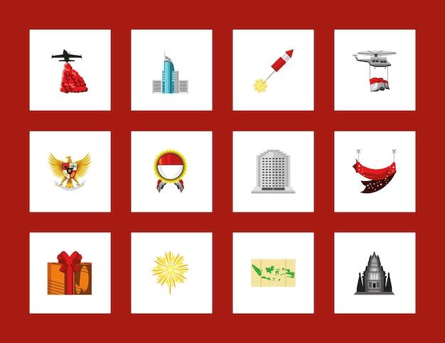 Jeu d'icônes de l'indonésie