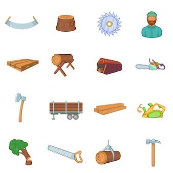 Jeu d'icônes de l'industrie du bois