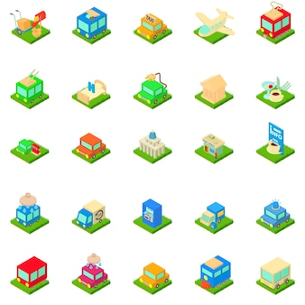Jeu d'icônes d'infrastructure urbaine
