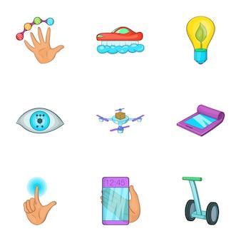 Jeu d'icônes de l'innovation, style cartoon