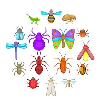 Jeu d'icônes d'insectes, style cartoon