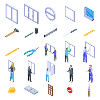 Jeu d'icônes d'installation de fenêtre, style isométrique
