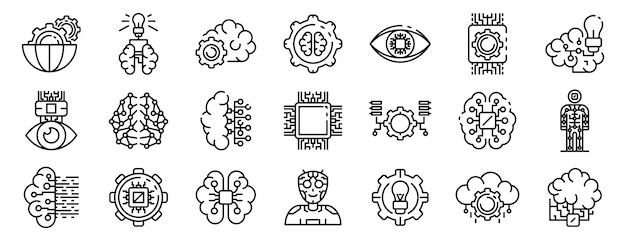 Jeu d'icônes de l'intelligence artificielle, style de contour