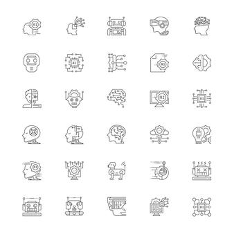 Jeu d'icônes d'intelligence artificielle