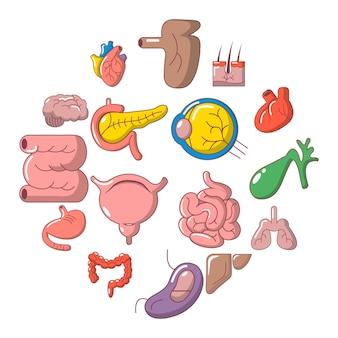 Jeu d'icônes internes des organes humains, style cartoon