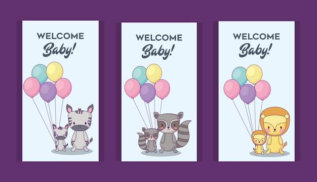 Jeu d'icônes d'invitations de douche de bébé avec des animaux mignons sur fond violet, design coloré. vecto