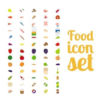 Jeu d'icônes isolé de différents aliments