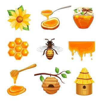 Jeu d'icônes isolé miel