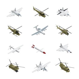 Jeu d'icônes isométrique de l'armée de l'air militaire, avions et hélicoptères avec différents types de couleurs, tailles et objectifs