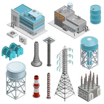 Jeu d'icônes isométrique de bâtiments industriels