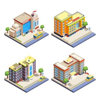 Jeu d'icônes isométrique de bâtiments scolaires