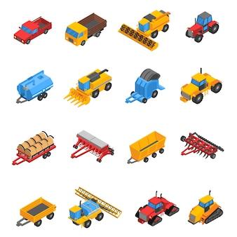 Jeu d'icônes isométrique machines agricoles