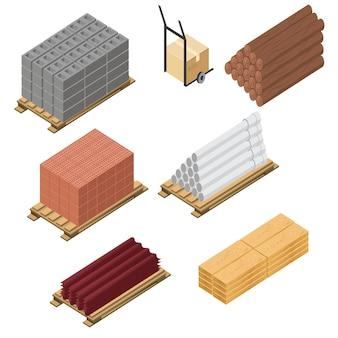 Jeu d'icônes isométrique de matériaux de construction