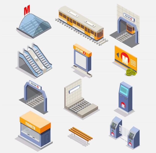 Jeu d'icônes isométrique métro ou souterrain