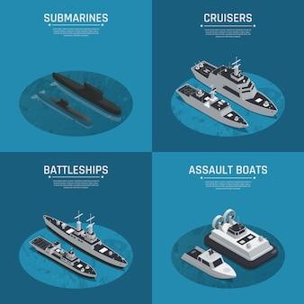 Jeu d'icônes isométrique de quatre bateaux militaires carrés