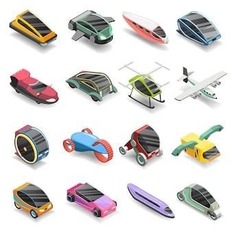 Jeu d'icônes isométrique de transport futur