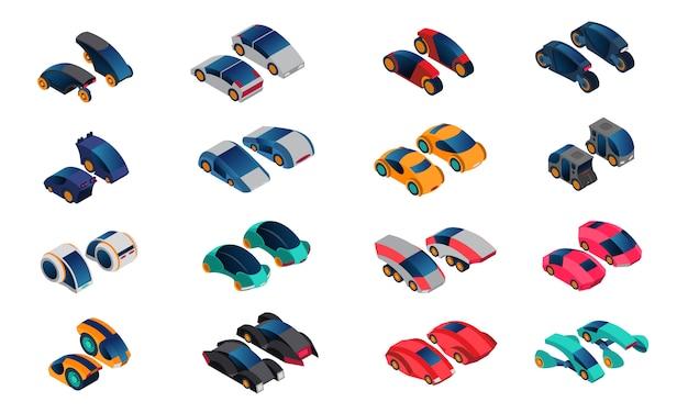 Jeu d'icônes isométrique voitures futuristes